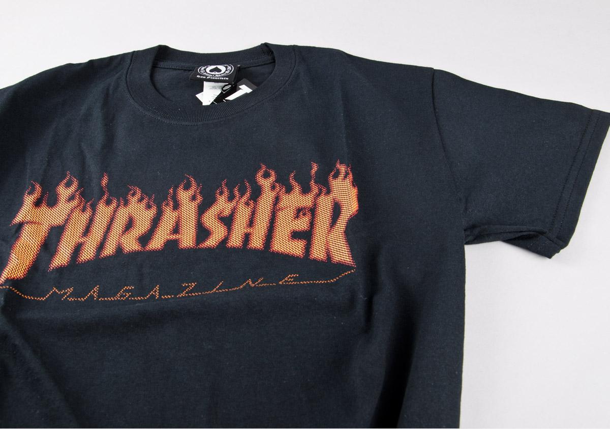 71ae9141523c Thrasher. Flame HalfTone Tee   black